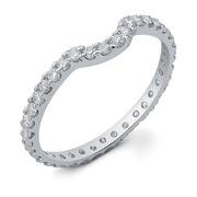 Lady's Platinum-Diamond Ring Guard 3 Diamonds .60 Carat T.W. 950 Platinum 5.1g