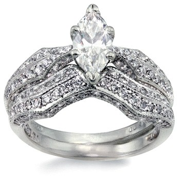Platinum-Diamond Wedding Set 20 Diamonds 1.60 Carat T.W. 950 Platinum 5.1g