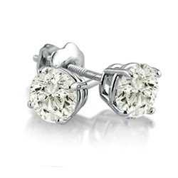 Gold-Diamond Earrings 2 Diamonds .90 Carat T.W. 14K White Gold 0.7g