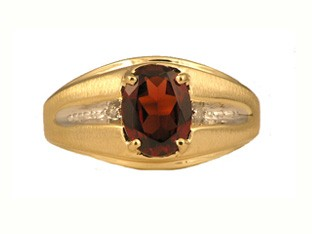 White Stone Gent's Stone Ring 14K Yellow Gold 2.9dwt