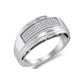 Gent's Silver-Diamond Ring 5 Diamonds .25 Carat T.W. 925 Silver 6.5g Size:10