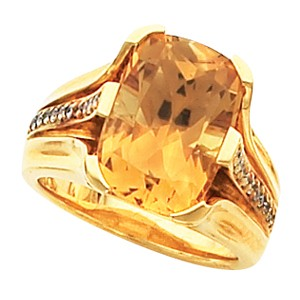 White Stone Lady's Stone Ring 10K Yellow Gold 3.5g