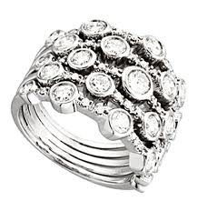 Lady's Silver-Diamond Ring 47 Diamonds .59 Carat T.W. 925 Silver 4.5g Size:7