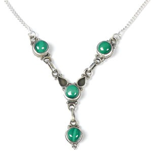 Green Stone Stone Necklace 925 Silver 13g