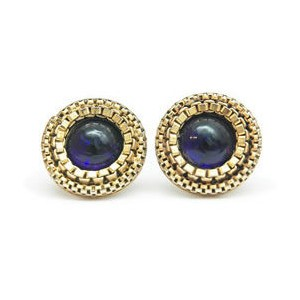 Synthetic Sapphire Gold-Stone Earrings 14K Yellow Gold 3.5dwt