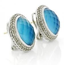 Synthetic Turquoise Silver-Stone Earrings 925 Silver 2.4g