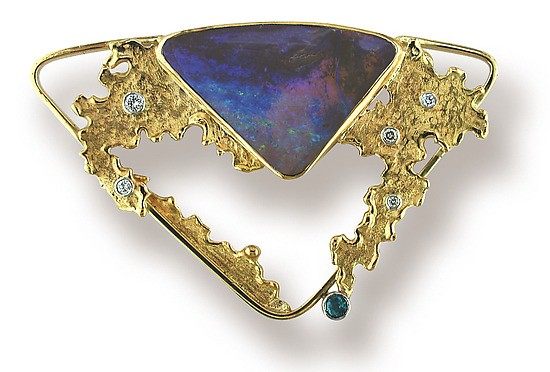 Synthetic Turquoise Gold-Stone Brooch Yellow Gold Filled 1.8dwt