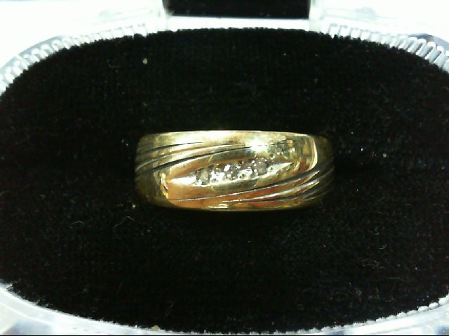 Gent's Gold-Diamond Wedding Band 3 Diamonds .03 Carat T.W. 14K Yellow Gold 5.5g