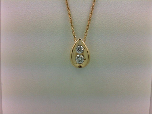 Gold-Multi-Diamond Pendant 2 Diamonds 0.35 Carat T.W. 14K Yellow Gold 1.7g