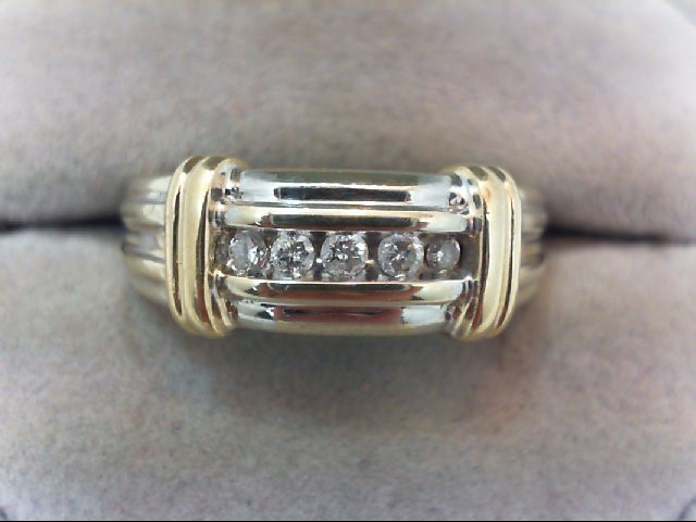 Gent's Gold-Diamond Wedding Band 5 Diamonds .13 Carat T.W. 14K 2 Tone Gold 6.4g