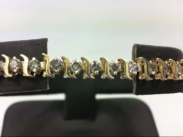 Gold-Diamond Bracelet 43 Diamonds 1.29 Carat T.W. 10K Yellow Gold 8.2g
