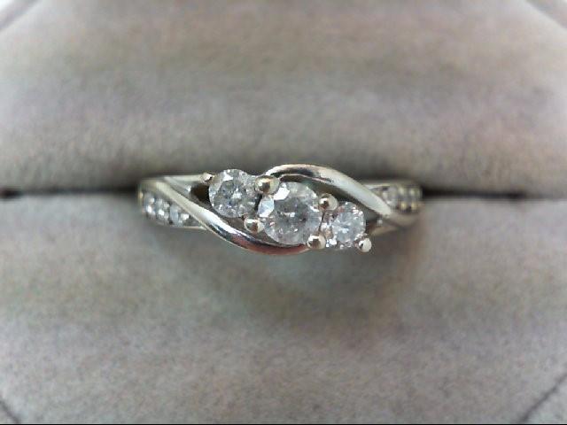 Lady's Diamond Engagement Ring 9 Diamonds .50 Carat T.W. 10K White Gold 2.7g