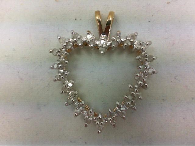 Gold-Multi-Diamond Pendant 44 Diamonds 0.44 Carat T.W. 10K Yellow Gold 2.1g