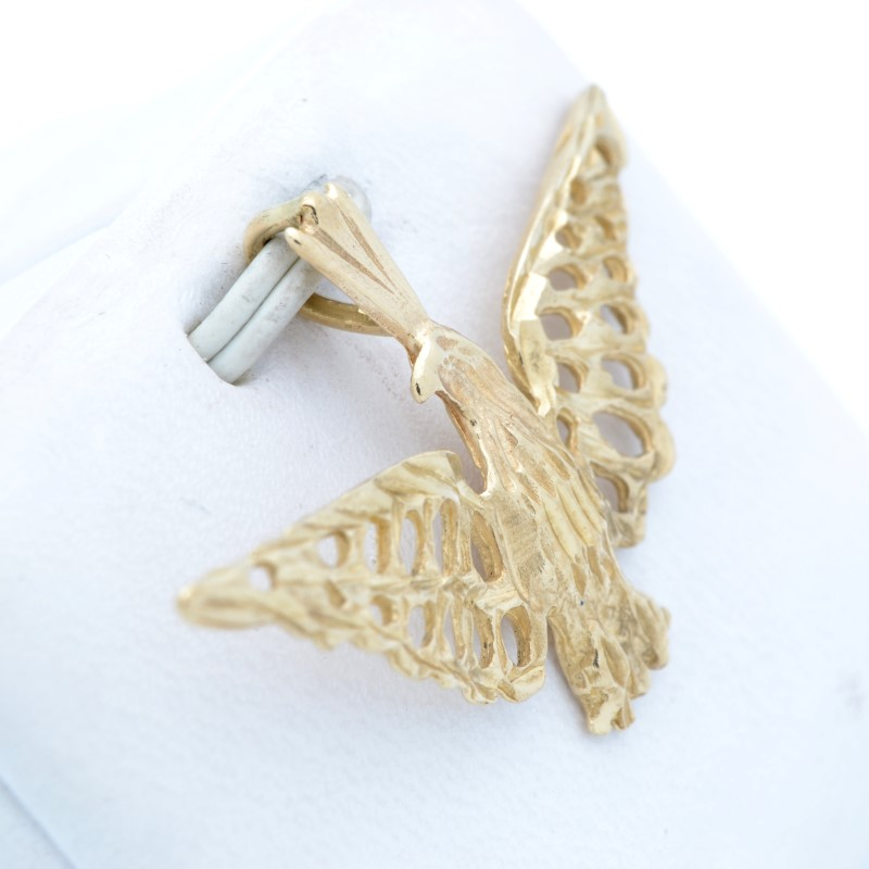 SOLID 14K GOLD EAGLE PENDANT CHARM BIRD BALD USA AMERICA SPREAD WING