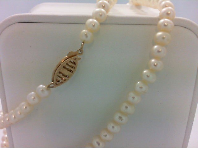 "18"" Synthetic Pearl Strand Stone Necklace 10K Yellow Gold 13.09g"