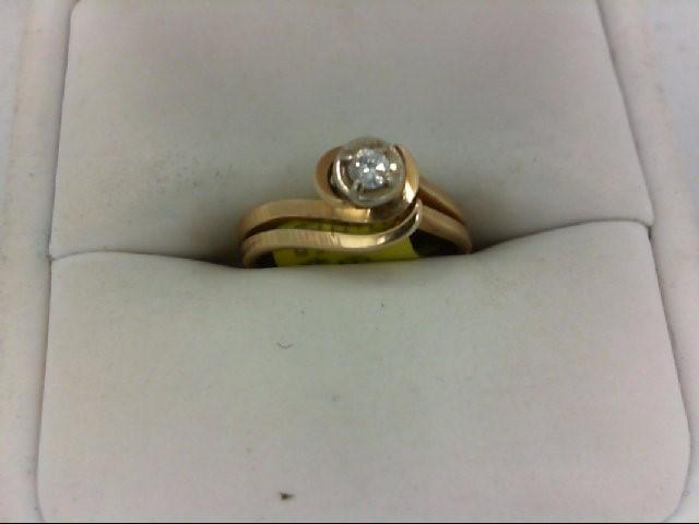 Lady's Diamond Wedding Set 0.1 CT. 14K Yellow Gold 2.7g Size:4.75