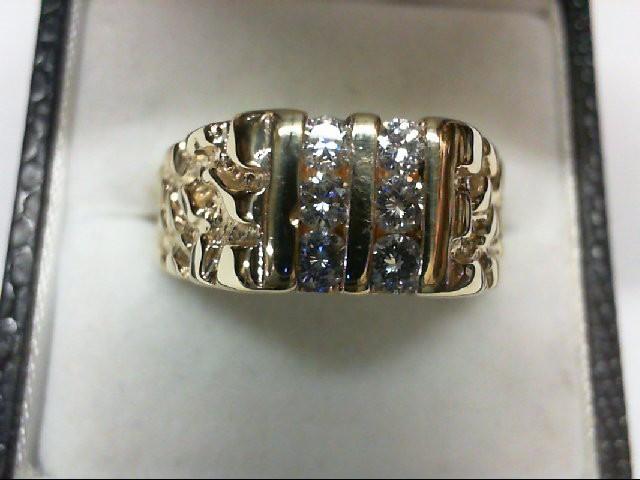Gent's Diamond Fashion Ring 6 Diamonds 0.42 Carat T.W. 14K Yellow Gold 9.5g