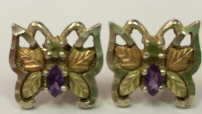 Coleman Black Hills Gold Amethyst Silver-Stone Earrings 925 Silver 1.8dwt