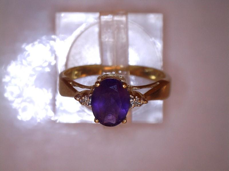 Amethyst Lady's Stone & Diamond Ring 2 Diamonds .02 Carat T.W. 10K Yellow Gold