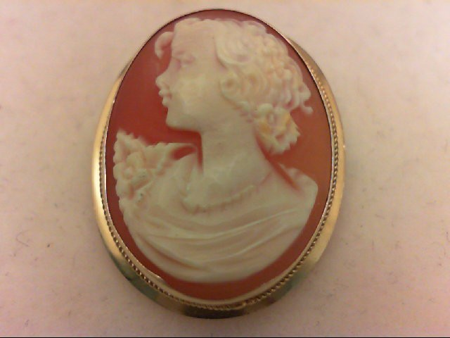 Cameo Gold-Stone Brooch 14K Yellow Gold 4.4g