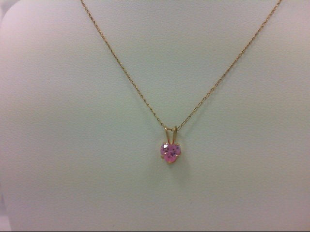 Synthetic Pink Stone Gold-Stone Pendant 14K Yellow Gold 0.9g