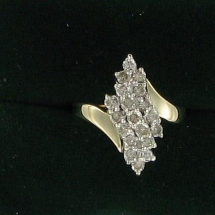 Lady's Diamond Cluster Ring 19 Diamonds 1.33 Carat T.W. 10K Yellow Gold 2.9dwt