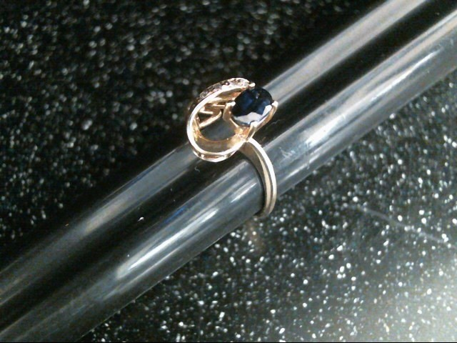Blue Stone Lady's Stone & Diamond Ring 4 Diamonds .08 Carat T.W.