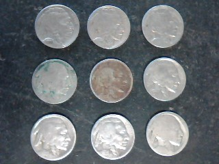 UNITED STATES Coins BUFFALO NICKELS assorted lot of 9