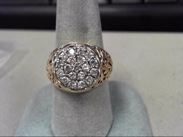 Gent's Diamond Cluster Ring 19 Diamonds .57 Carat T.W. 14K Yellow Gold 8.3g