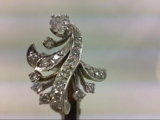 Lady's Diamond Fashion Ring 21 Diamonds 1.26 Carat T.W. 14K White Gold 5.76g