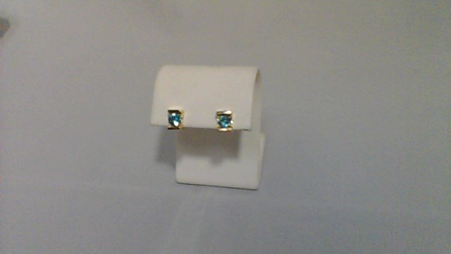 Blue Stone Gold-Stone Earrings 14K Yellow Gold 2.5g
