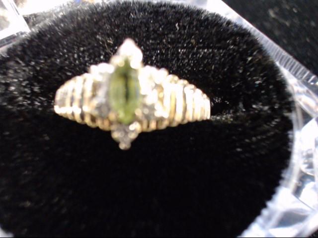 Green Stone Lady's Stone & Diamond Ring 6 Diamonds .06 Carat T.W.