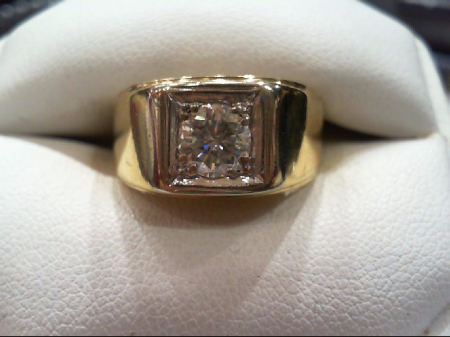 Gent's Diamond Solitaire Ring .82 CT. 14K Yellow Gold 7.3g