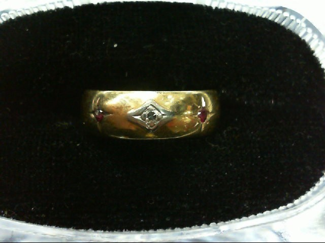 Ruby Lady's Stone & Diamond Ring .01 CT. 14K Yellow Gold 3.9g