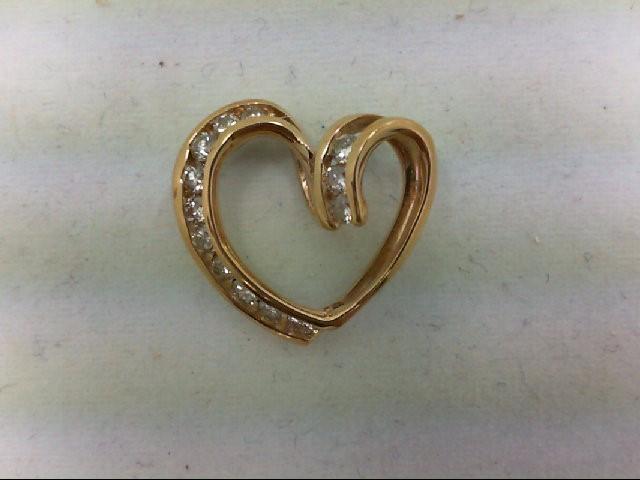 Gold-Multi-Diamond Pendant 13 Diamonds 0.26 Carat T.W. 14K Yellow Gold 1.3g