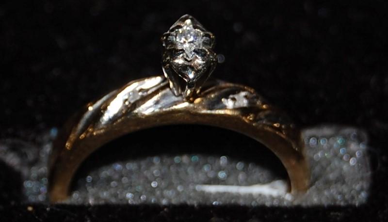 Lady's Diamond Engagement Ring 3 Diamonds .10 Carat T.W. 10K Yellow Gold 2.1g