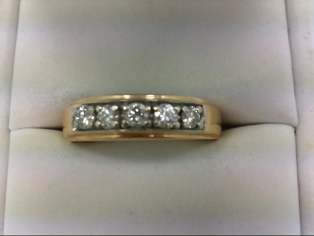 Gent's Gold-Diamond Wedding Band 5 Diamonds 0.6 Carat T.W. 14K Yellow Gold 7g