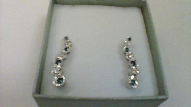 14kwg blue white diamond earrings