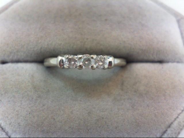 Lady's Diamond Wedding Band 3 Diamonds .22 Carat T.W. 10K White Gold 1.8g