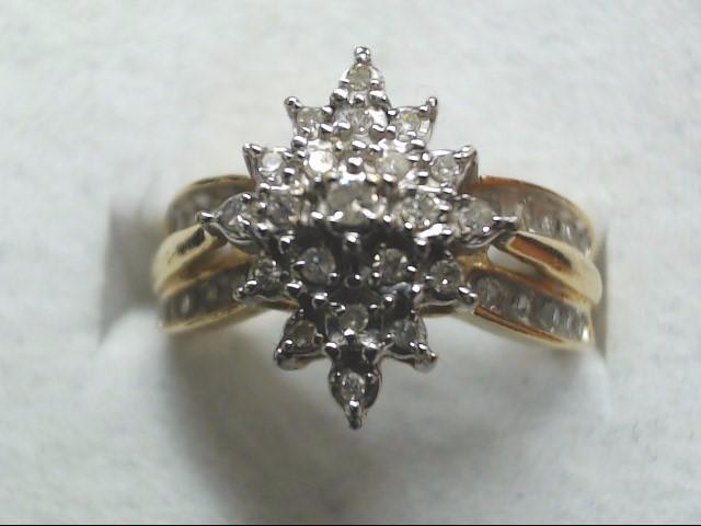 Lady's Diamond Cluster Ring 41 Diamonds .41 Carat T.W. 10K Yellow Gold 3.1g