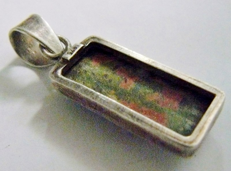 Rectangular Unakite 925 Silver 6.9dwt pendant