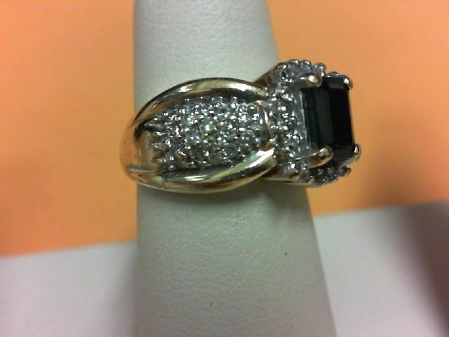 Blue Stone Lady's Stone & Diamond Ring 46 Diamonds .46 Carat T.W.