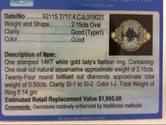 Aquamarine Lady's Stone & Diamond Ring 24 Diamonds .50 Carat T.W.