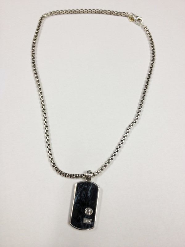 David Yurman Blue Pieteriste Dog Tag Pendant 925 Silver 42.09g w Chain