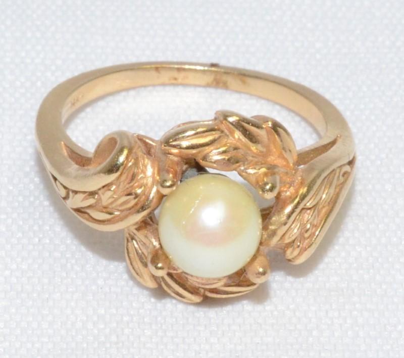 14K Yellow Gold Unique Vine & Leaf Design Pearl Birds Nest Ring sz 6.75