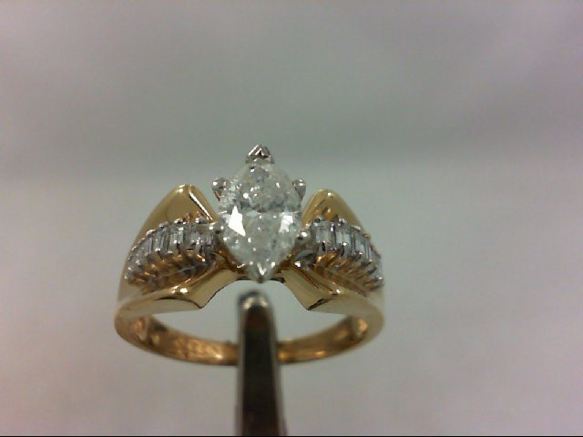 Lady's Diamond Engagement Ring 15 Diamonds .99 Carat T.W. 14K Yellow Gold 4.79g