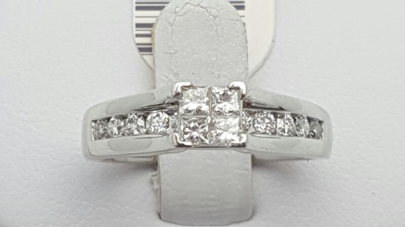 Lady's Diamond Engagement Ring 15 Diamonds .65 Carat T.W. 14K White Gold 5.1g
