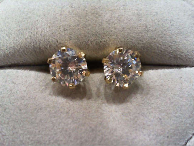 Cubic Zirconia Gold-Stone Earrings 14K Yellow Gold 2.7g