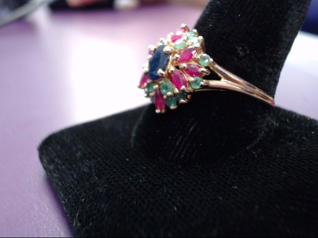 Ruby Lady's Stone Ring 14K Yellow Gold 3.1g Size:10