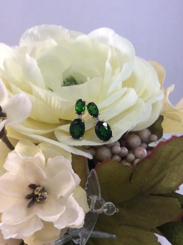 Emerald Gold-Diamond & Stone Earrings 2 Diamonds .02 Carat T.W. 10K Yellow Gold